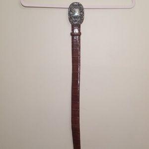 BRIGHTON Silver Bold Buckle Belt Size Medium